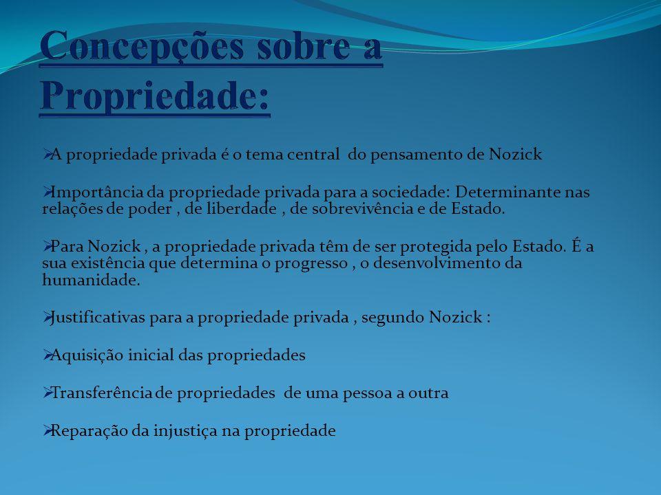 A propriedade privada é o tema central do pensamento de Nozick Importância da propriedade privada para a sociedade: Determinante nas relações de poder
