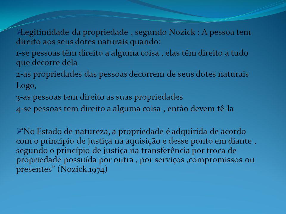 Legitimidade da propriedade, segundo Nozick : A pessoa tem direito aos seus dotes naturais quando: 1-se pessoas têm direito a alguma coisa, elas têm d