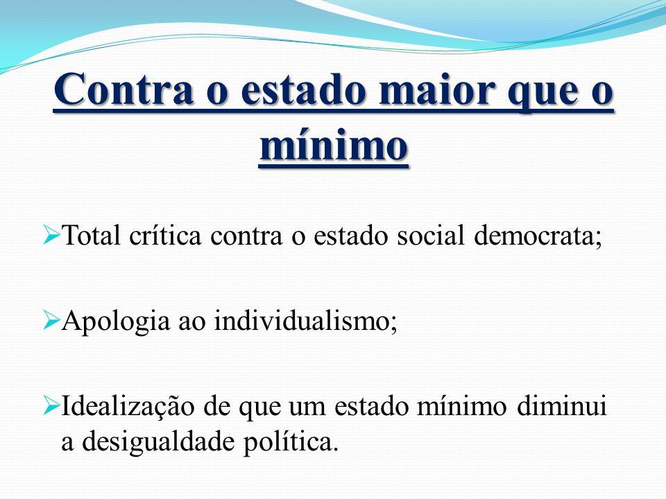 Contra o estado maior que o mínimo Total crítica contra o estado social democrata; Apologia ao individualismo; Idealização de que um estado mínimo dim