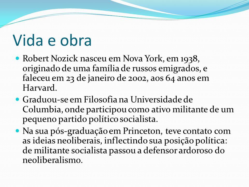Vida e obra Robert Nozick nasceu em Nova York, em 1938, originado de uma família de russos emigrados, e faleceu em 23 de janeiro de 2002, aos 64 anos