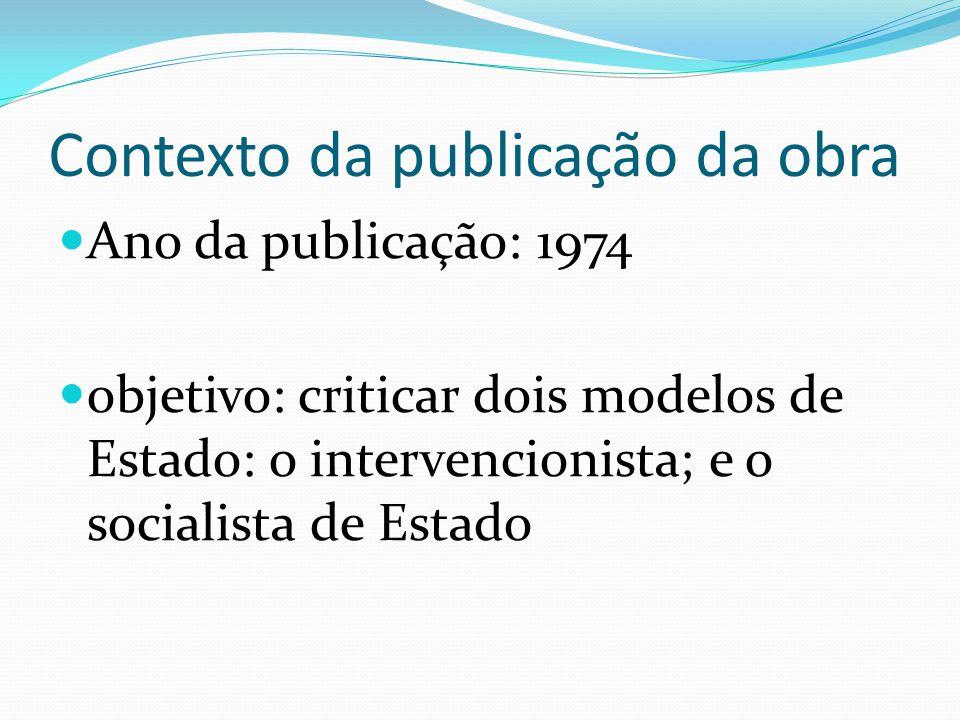 Contexto da publicação da obra Ano da publicação: 1974 objetivo: criticar dois modelos de Estado: o intervencionista; e o socialista de Estado