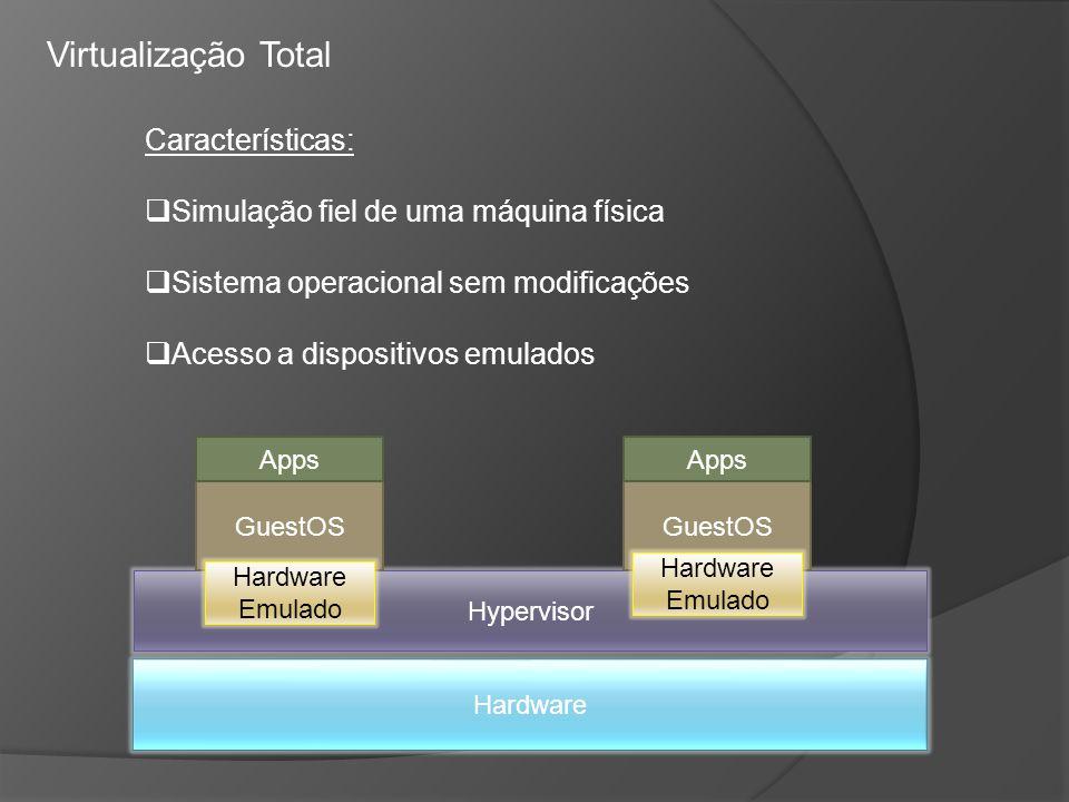 Virtualização Total Características: Simulação fiel de uma máquina física Sistema operacional sem modificações Acesso a dispositivos emulados Hardware