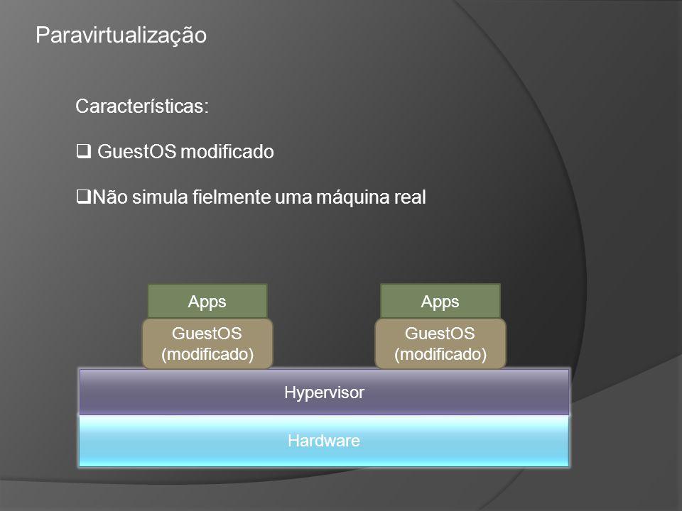 Paravirtualização Características: GuestOS modificado Não simula fielmente uma máquina real Hardware Hypervisor GuestOS (modificado) Apps