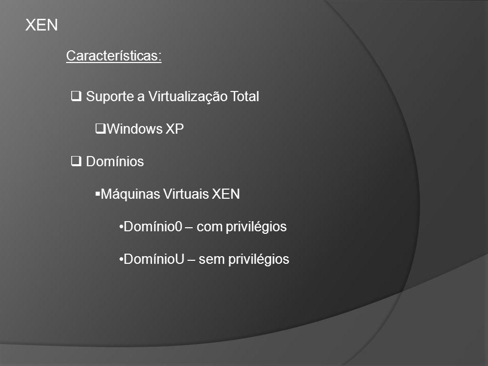 Suporte a Virtualização Total Windows XP Domínios Máquinas Virtuais XEN Domínio0 – com privilégios DomínioU – sem privilégios Características: XEN