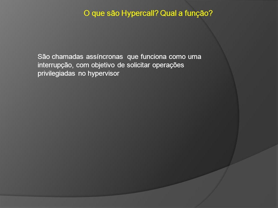 O que são Hypercall? Qual a função? São chamadas assíncronas que funciona como uma interrupção, com objetivo de solicitar operações privilegiadas no h