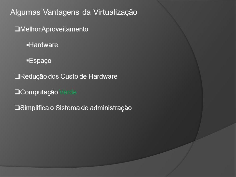 Algumas Vantagens da Virtualização Melhor Aproveitamento Hardware Espaço Redução dos Custo de Hardware Computação Verde Simplifica o Sistema de admini
