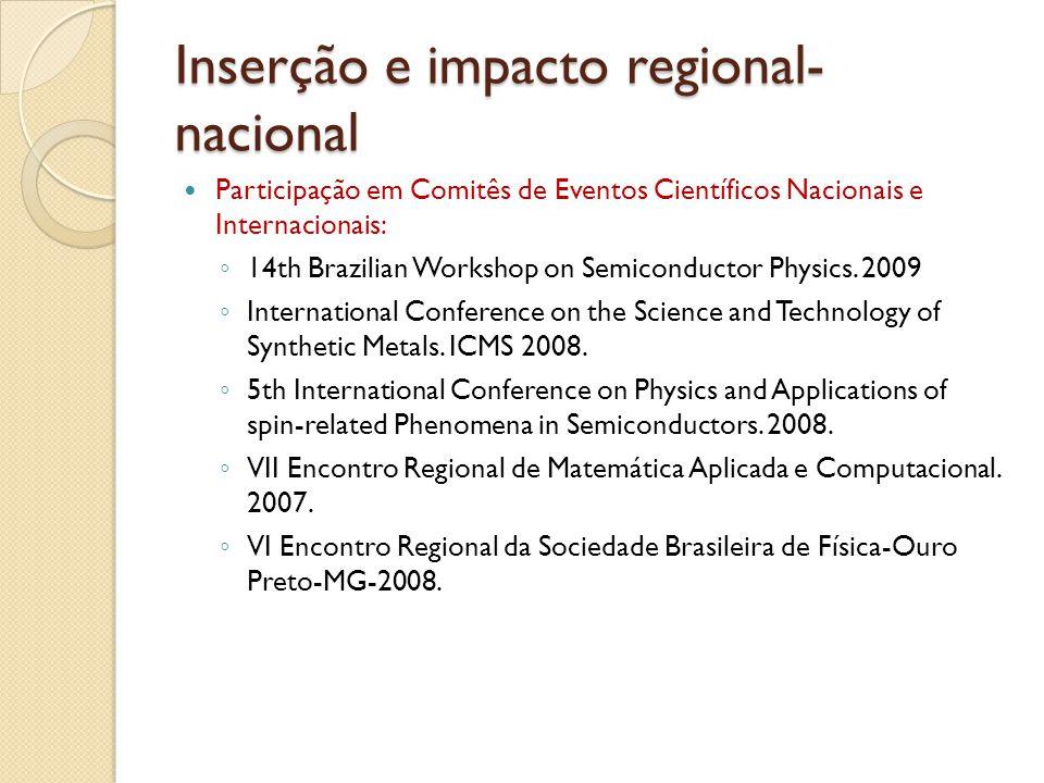 Inserção e impacto regional- nacional Participação em Comitês de Eventos Científicos Nacionais e Internacionais: 14th Brazilian Workshop on Semiconductor Physics.