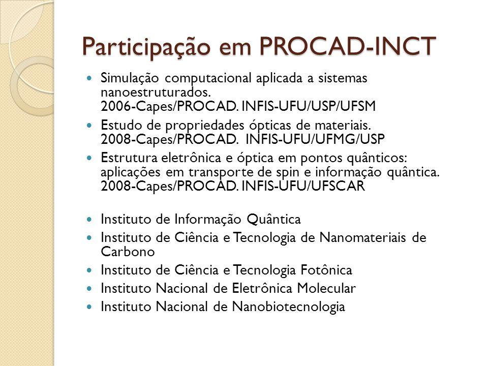 Participação em PROCAD-INCT Simulação computacional aplicada a sistemas nanoestruturados.