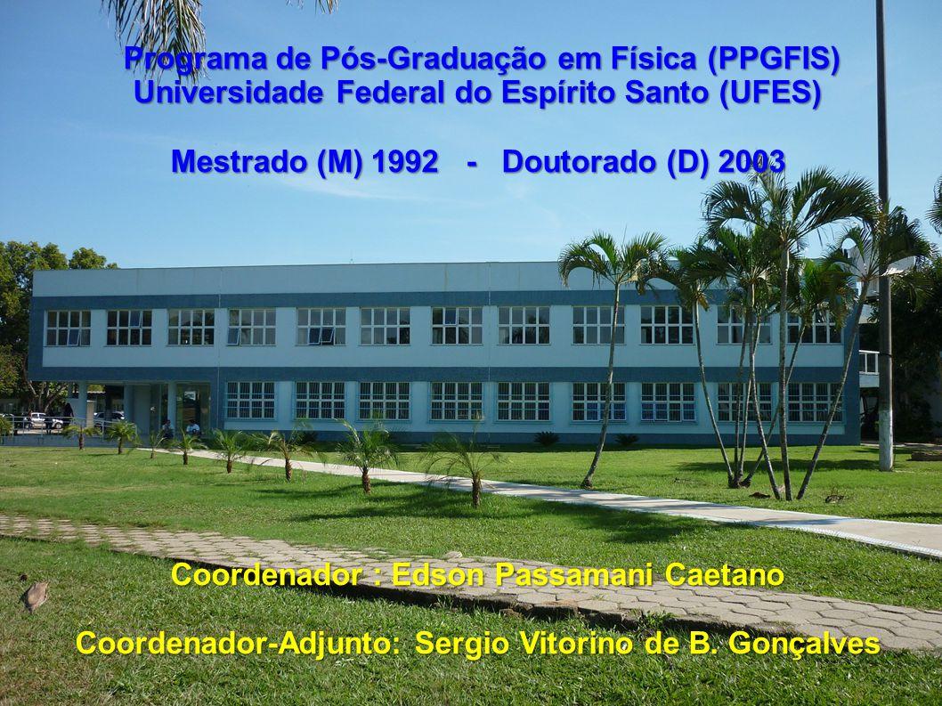 Nome do Docente Total de Orientações 2007-2009 DR Alfredo Gonçalves Cunha – DR (bolsista CT-Petro)03 Antonio Alberto Ribeiro Fernandes (colaborador 2009) – PD 0 DR Antônio Canal Neto - DR01 Armando Yoshihaki Takeuchi (CNPq/nível II) - PD02 Carlos Larica (CNPq/nível II) - PD01 Clisthenis Ponce Constantinidis (CNPq/nível II) - PD03 Edson Passamani Caetano (CNPq/nível II) - PD06 Francisco Elias Jorge (CNPq/nível ID) - PD07 PD Francisco Guilherme Emmerich - PD (Pró-reitor)02 Galen Mihaylov Sotkov (colaborador 2009) - PD 03 Humberto Belich Junior (CNPq/nível II) - PD01 PD Jair Carlos Checon de Freitas - PD - (bolsista CT-Petro)01 José Alexandre Nogueira (colaborador 2009) – DR 06 Júlio César Fabris (CNPq/nível IC) - PD04 Laércio Evandro Ferracioli da Silva (CNPq/nível II) (colaborador 2009) - PD 02 Marcos Tadeu DAzeredo Orlando (CNPq/nível II) - PD05 Olivier Piguet (CNPq/nível IC) - PD02 Sergio Vitorino de Borba Gonçalves (CNPq/nível II) - PD0 (ingressou em 2009) Zimdahl Winfried Ernst Wilhelm (CNPq/nível II) - PD (ingressou em 2009)0 11 Bolsista do CNPq de 15 Permanentes em 2009 (73%) PD – Pós-Doutorado DR - Doutorado Distribuição de trabalhos concluídos no triênio 2007-2009