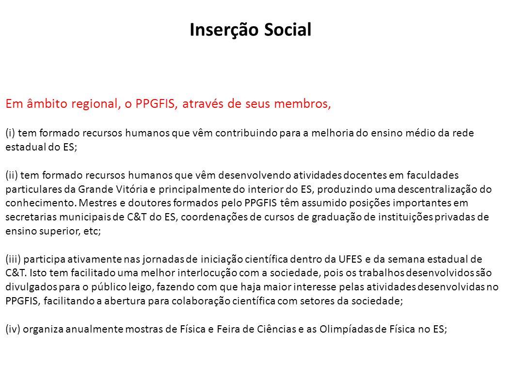 Em âmbito regional, o PPGFIS, através de seus membros, (i) tem formado recursos humanos que vêm contribuindo para a melhoria do ensino médio da rede e