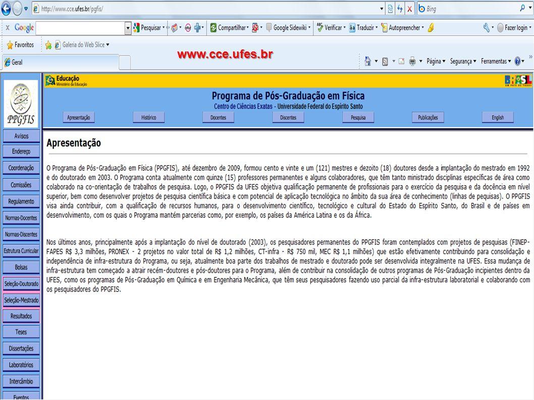 PD – pós-doutorado DR - Doutorado Nome do Docente Artigos publicados CA-Física Total de artigos 2007200820092007-2009 Alfredo Gonçalves Cunha – DR (bolsista CT-Petro)01020104 Antonio Alberto Ribeiro Fernandes (colaborador 2009) – PD 0101002 Antônio Canal Neto - DR0300407 Armando Yoshihaki Takeuchi (CNPq/nível II) - PD06040616 Carlos Larica (CNPq/nível II) - PD05020310 Clisthenis Ponce Constantinidis (CNPq/nível II) – PD001 02 Edson Passamani Caetano (CNPq/nível II) - PD0504 13 Francisco Elias Jorge (CNPq/nível ID) - PD05040514 Francisco Guilherme Emmerich – PD (Pró-reitor)0401 06 Galen Mihaylov Sotkov (colaborador 2009) - PD 0000 Humberto Belich Junior (CNPq/nível II) - PD02010205 Jair Carlos Checon de Freitas – PD - (bolsista CT-Petro)06020513 José Alexandre Nogueira (colaborador 2009) – DR 0000 Júlio César Fabris (CNPq/nível IC) - PD06 0214 Laércio Evandro Ferracioli da Silva (CNPq/nível II) (colaborador 2009) - PD 0000 Marcos Tadeu DAzeredo Orlando (CNPq/nível II) - PD03050410 Olivier Piguet (CNPq/nível IC) – PD01 0204 Sergio Vitorino de Borba Gonçalves (CNPq/nível II) - PD0302005 Zimdahl Winfried Ernst Wilhelm (CNPq/nível II) – PD-------03