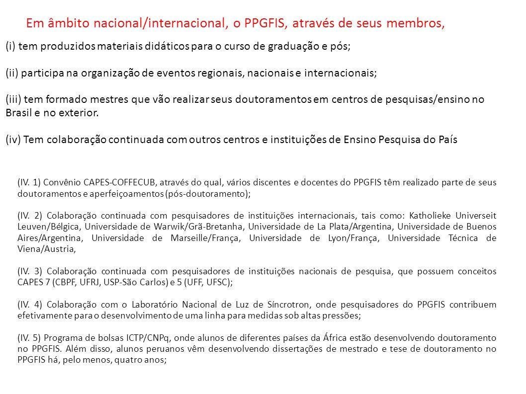 (IV. 1) Convênio CAPES-COFFECUB, através do qual, vários discentes e docentes do PPGFIS têm realizado parte de seus doutoramentos e aperfeiçoamentos (