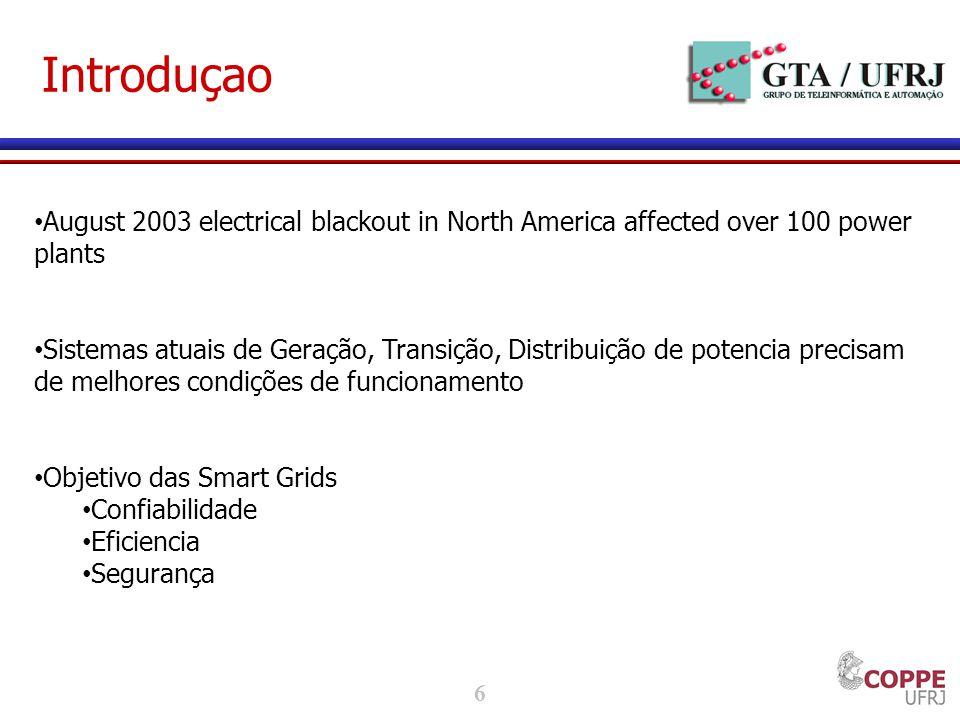 6 Introduçao August 2003 electrical blackout in North America affected over 100 power plants Sistemas atuais de Geração, Transição, Distribuição de potencia precisam de melhores condições de funcionamento Objetivo das Smart Grids Confiabilidade Eficiencia Segurança
