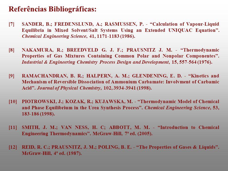 Referências Bibliográficas: [7]SANDER, B.; FREDENSLUND, A.; RASMUSSEN, P. - Calculation of Vapour-Liquid Equilibria in Mixed Solvent/Salt Systems Usin