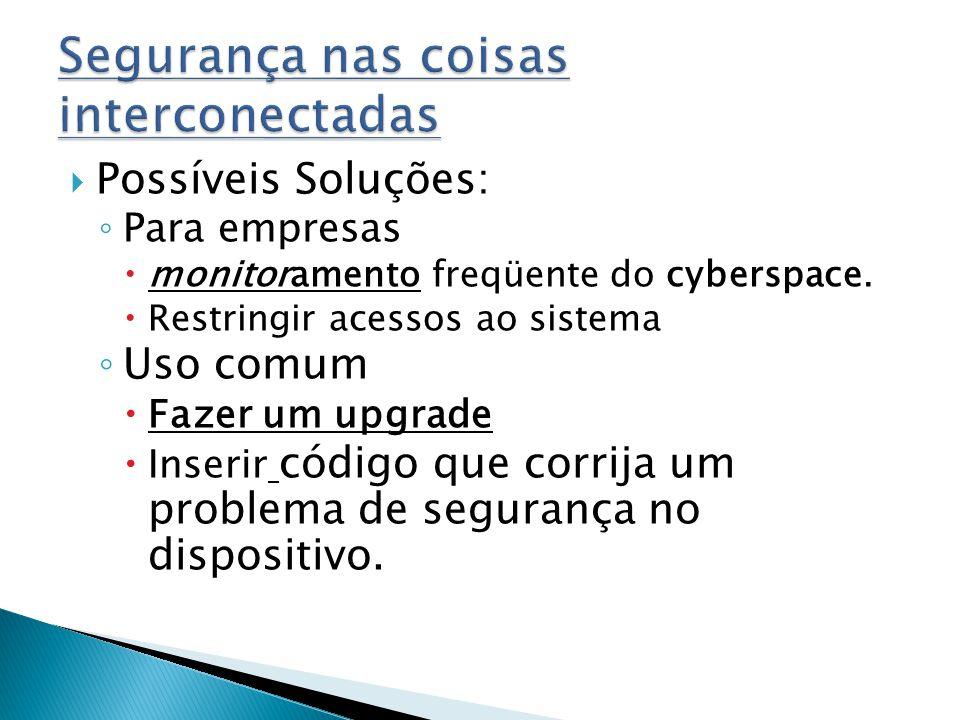 Possíveis Soluções: Para empresas monitoramento freqüente do cyberspace.
