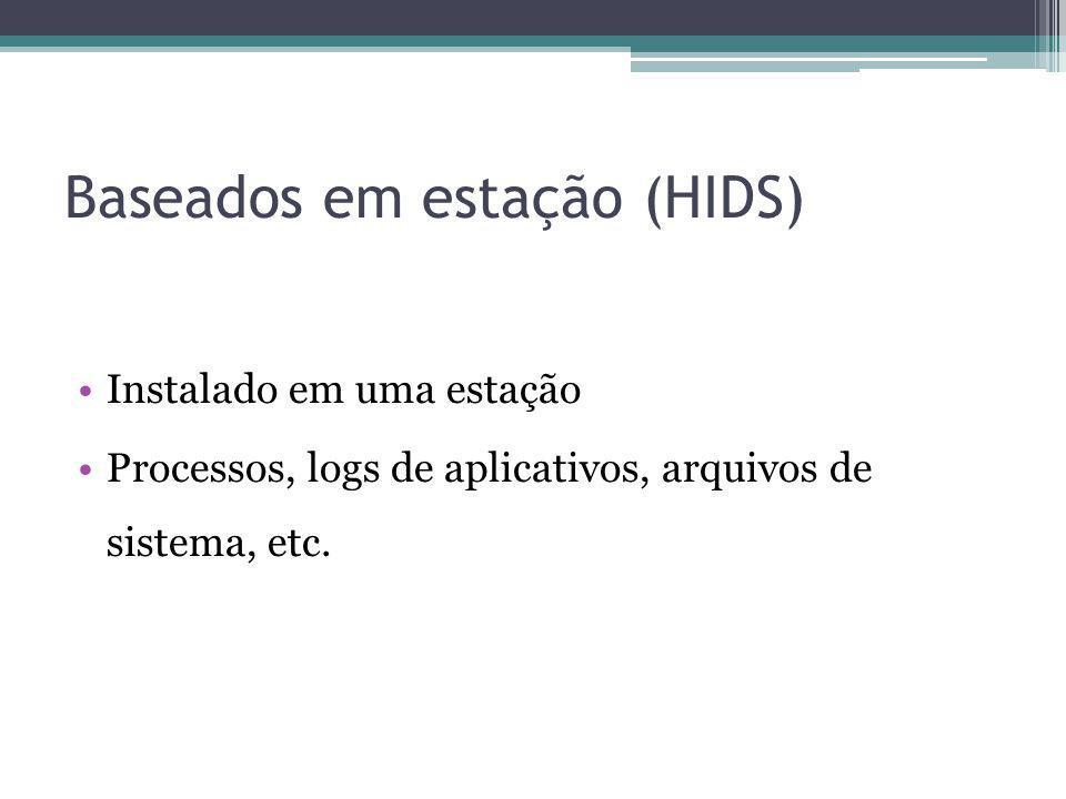 Baseados em estação (HIDS) Instalado em uma estação Processos, logs de aplicativos, arquivos de sistema, etc.