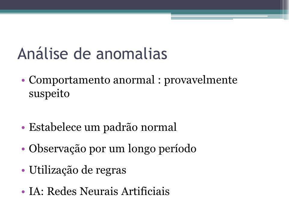 Análise de anomalias Comportamento anormal : provavelmente suspeito Estabelece um padrão normal Observação por um longo período Utilização de regras I