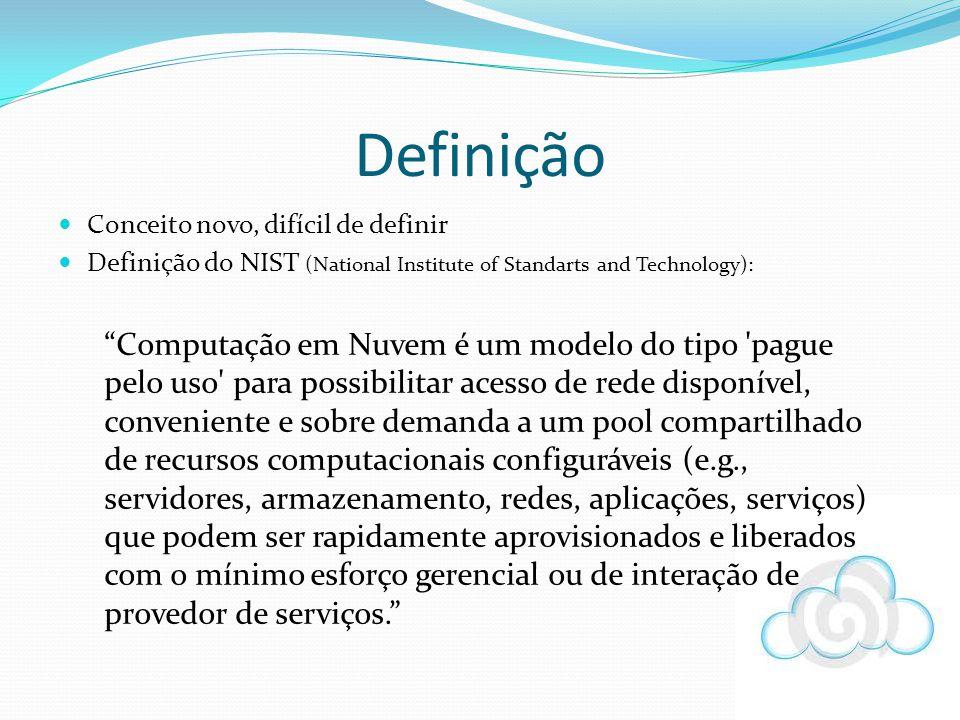 Definição Conceito novo, difícil de definir Definição do NIST (National Institute of Standarts and Technology): Computação em Nuvem é um modelo do tip