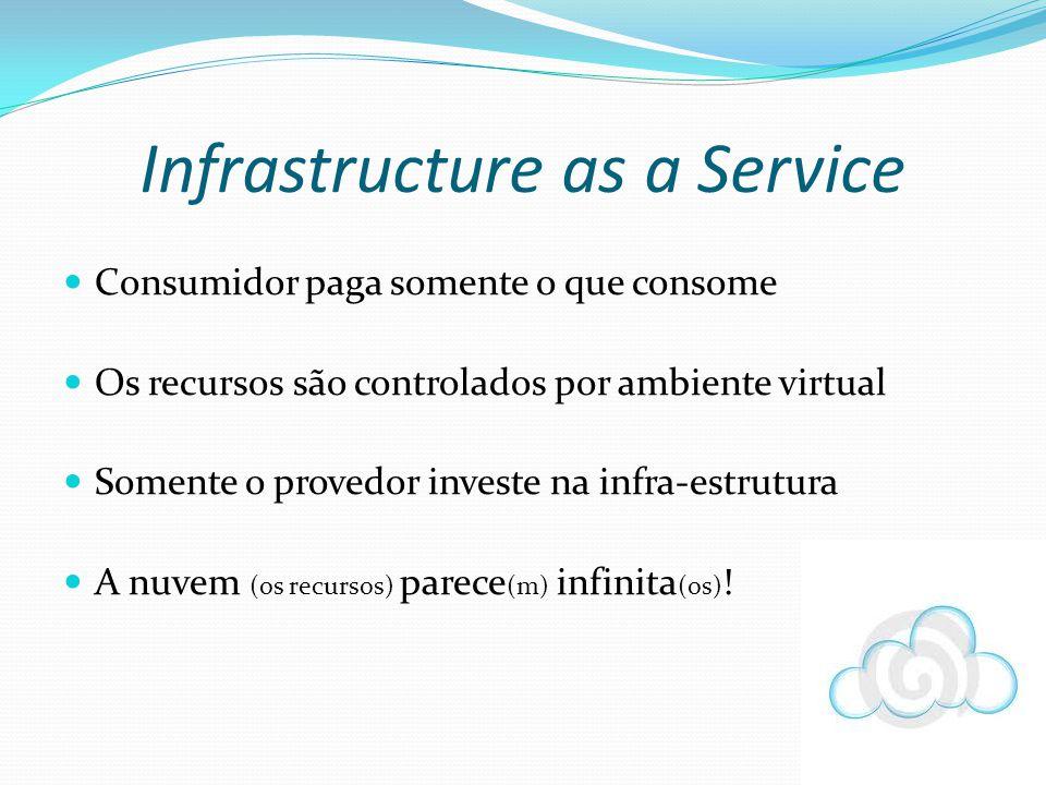 Consumidor paga somente o que consome Os recursos são controlados por ambiente virtual Somente o provedor investe na infra-estrutura A nuvem (os recur