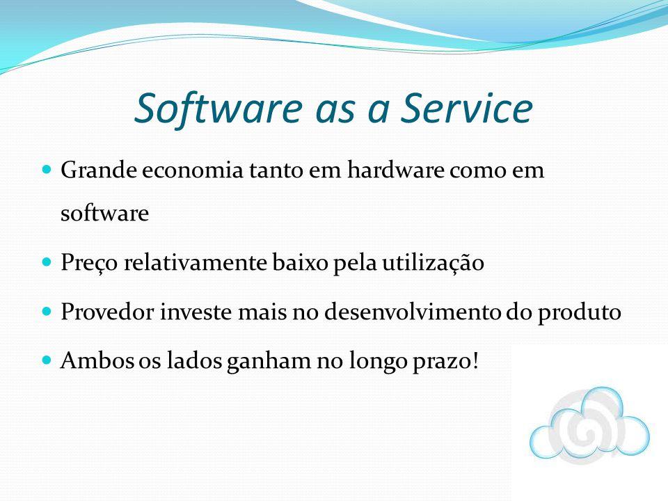 Grande economia tanto em hardware como em software Preço relativamente baixo pela utilização Provedor investe mais no desenvolvimento do produto Ambos