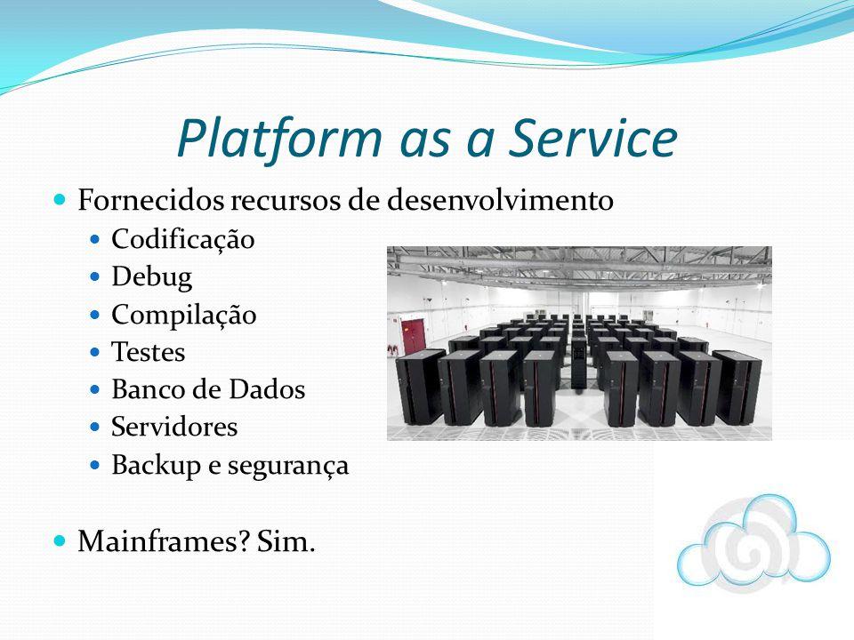 Fornecidos recursos de desenvolvimento Codificação Debug Compilação Testes Banco de Dados Servidores Backup e segurança Mainframes? Sim. Platform as a