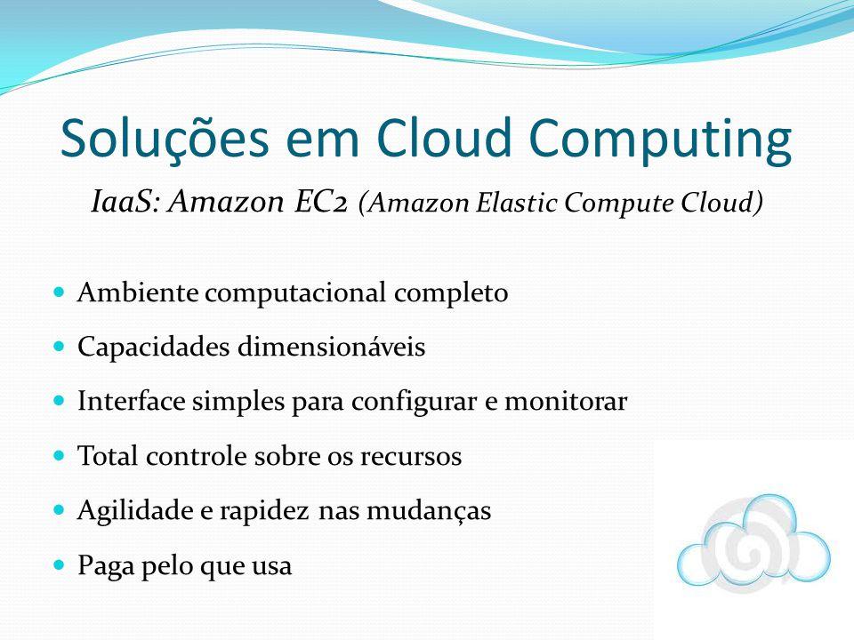 Soluções em Cloud Computing IaaS: Amazon EC2 (Amazon Elastic Compute Cloud) Ambiente computacional completo Capacidades dimensionáveis Interface simpl