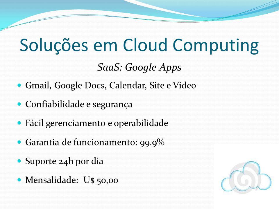 SaaS: Google Apps Gmail, Google Docs, Calendar, Site e Video Confiabilidade e segurança Fácil gerenciamento e operabilidade Garantia de funcionamento: