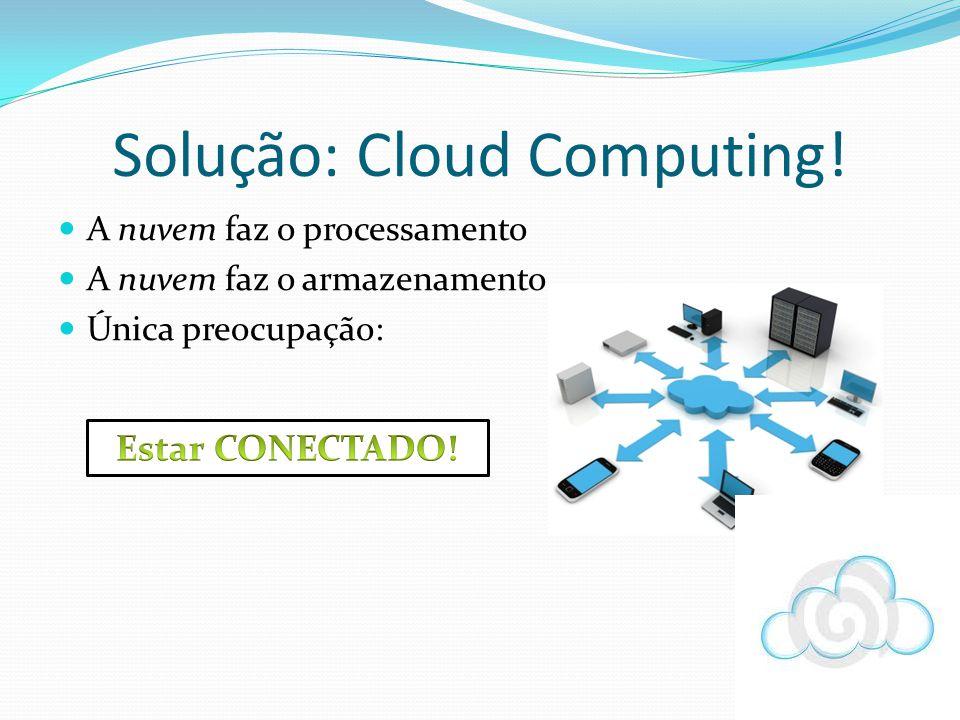 Solução: Cloud Computing! A nuvem faz o processamento A nuvem faz o armazenamento Única preocupação: