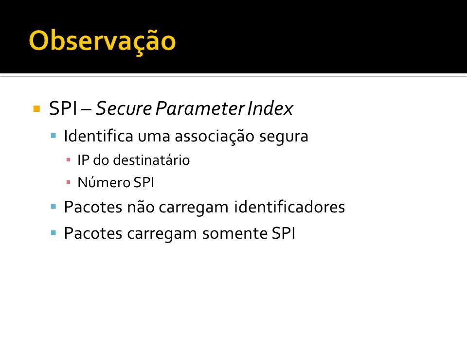 SPI – Secure Parameter Index Identifica uma associação segura IP do destinatário Número SPI Pacotes não carregam identificadores Pacotes carregam somente SPI