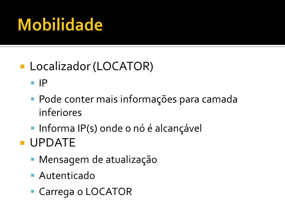 Localizador (LOCATOR) IP Pode conter mais informações para camada inferiores Informa IP(s) onde o nó é alcançável UPDATE Mensagem de atualização Autenticado Carrega o LOCATOR