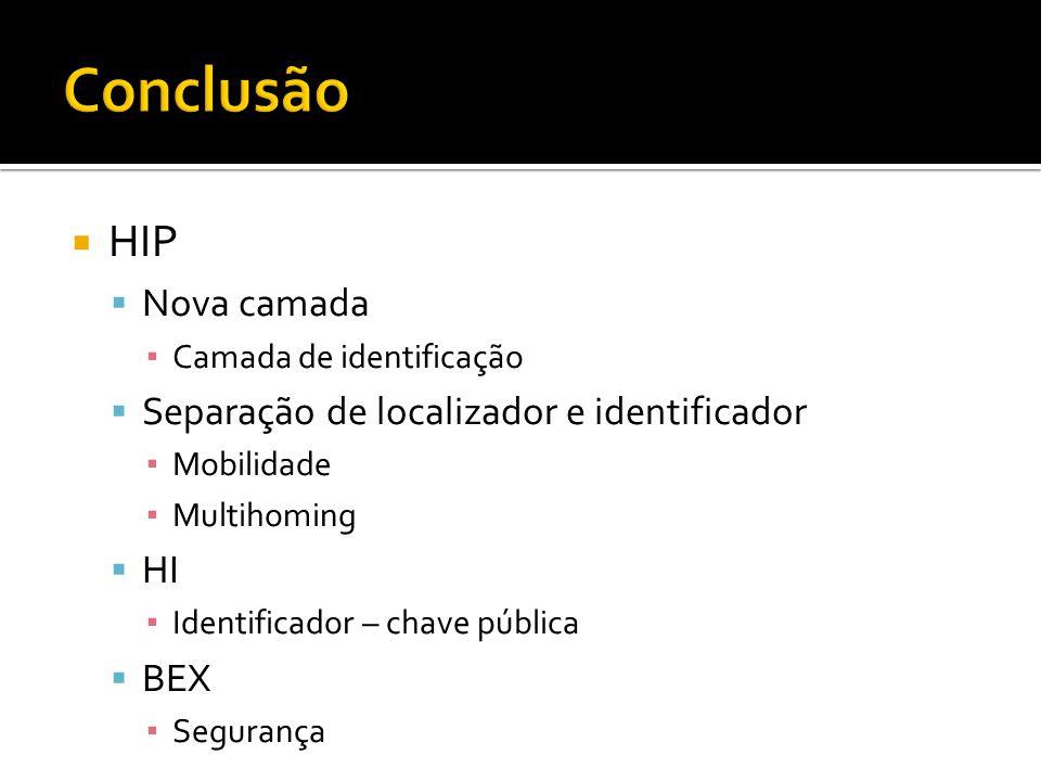 HIP Nova camada Camada de identificação Separação de localizador e identificador Mobilidade Multihoming HI Identificador – chave pública BEX Segurança