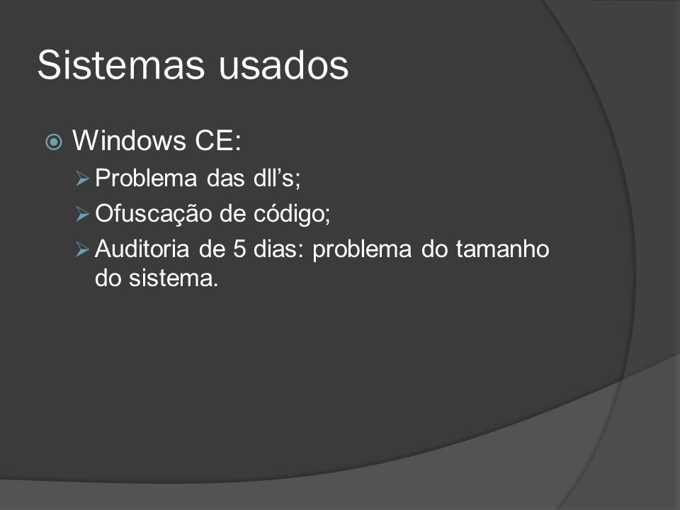 Sistemas usados Windows CE: Problema das dlls; Ofuscação de código; Auditoria de 5 dias: problema do tamanho do sistema.