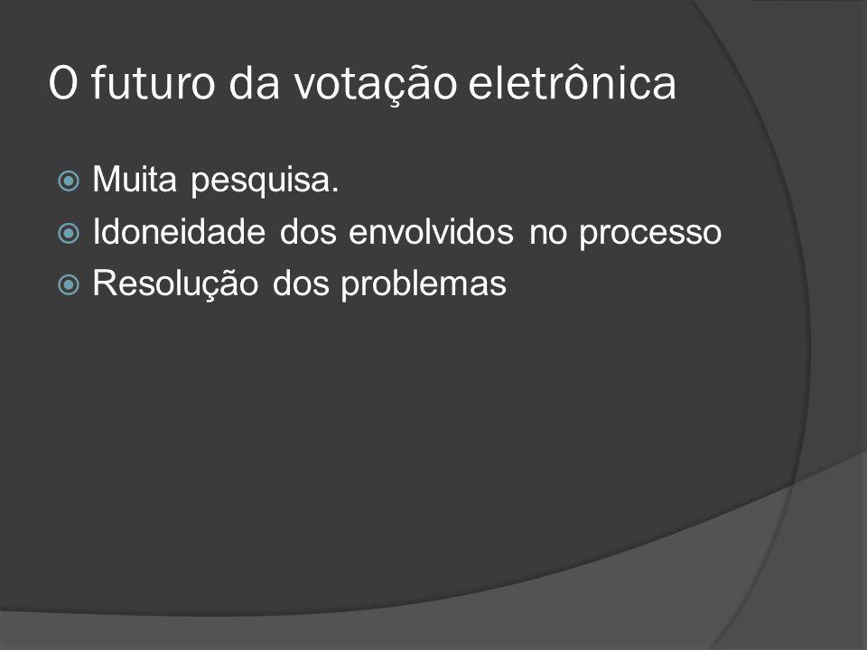 O futuro da votação eletrônica Muita pesquisa. Idoneidade dos envolvidos no processo Resolução dos problemas