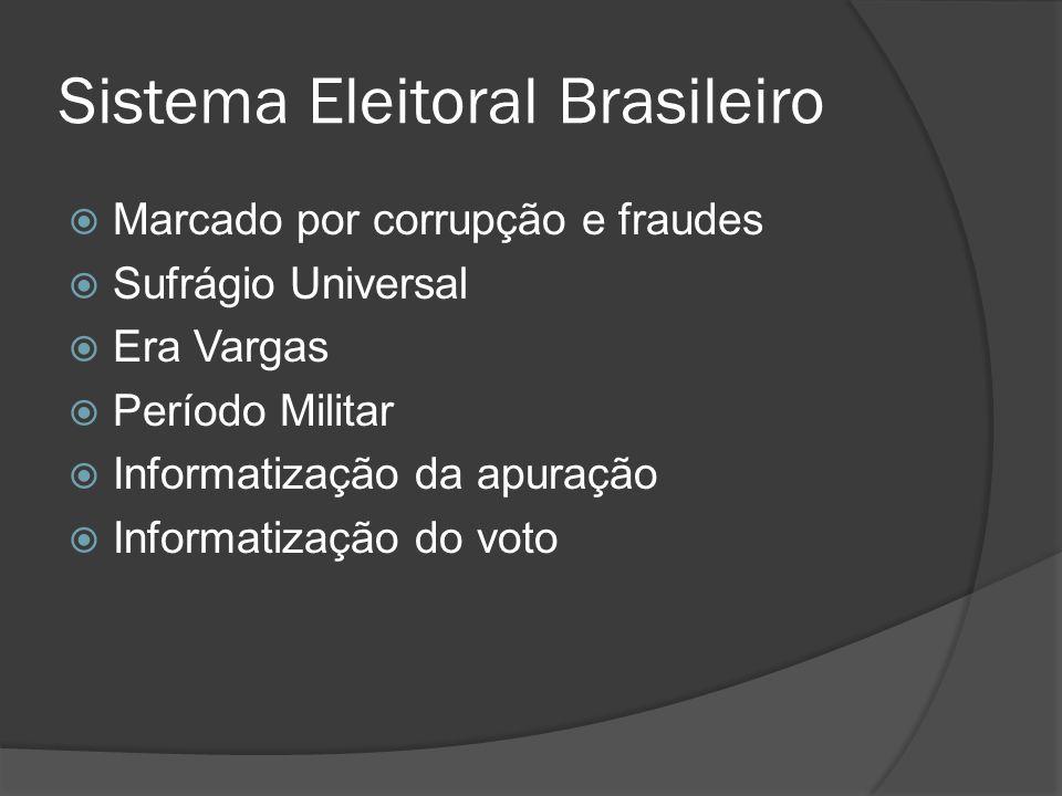 Sistema Eleitoral Brasileiro Marcado por corrupção e fraudes Sufrágio Universal Era Vargas Período Militar Informatização da apuração Informatização do voto