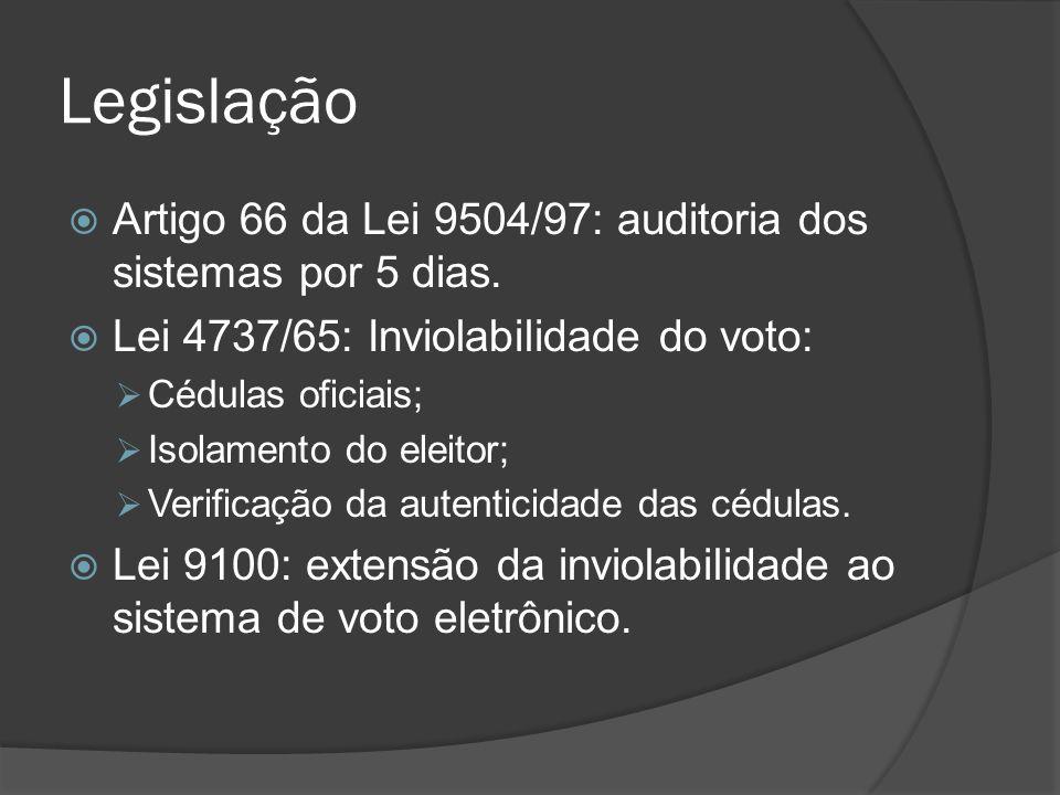 Legislação Artigo 66 da Lei 9504/97: auditoria dos sistemas por 5 dias. Lei 4737/65: Inviolabilidade do voto: Cédulas oficiais; Isolamento do eleitor;