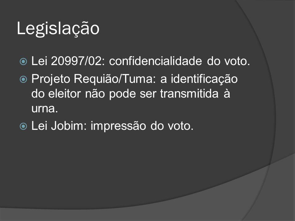 Legislação Lei 20997/02: confidencialidade do voto. Projeto Requião/Tuma: a identificação do eleitor não pode ser transmitida à urna. Lei Jobim: impre