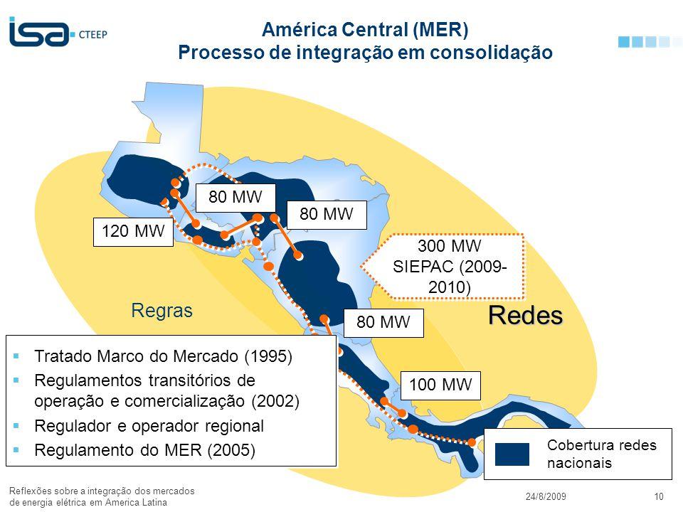 © Todos os direitos reservados para CTEEP24/8/2009 Reflexões sobre a integração dos mercados de energia elétrica em America Latina 10 América Central (MER) Processo de integração em consolidação Tratado Marco do Mercado (1995) Regulamentos transitórios de operação e comercialização (2002) Regulador e operador regional Regulamento do MER (2005) Tratado Marco do Mercado (1995) Regulamentos transitórios de operação e comercialização (2002) Regulador e operador regional Regulamento do MER (2005) Regras 100 MW 80 MW 120 MW 300 MW SIEPAC (2009- 2010) Redes Cobertura redes nacionais