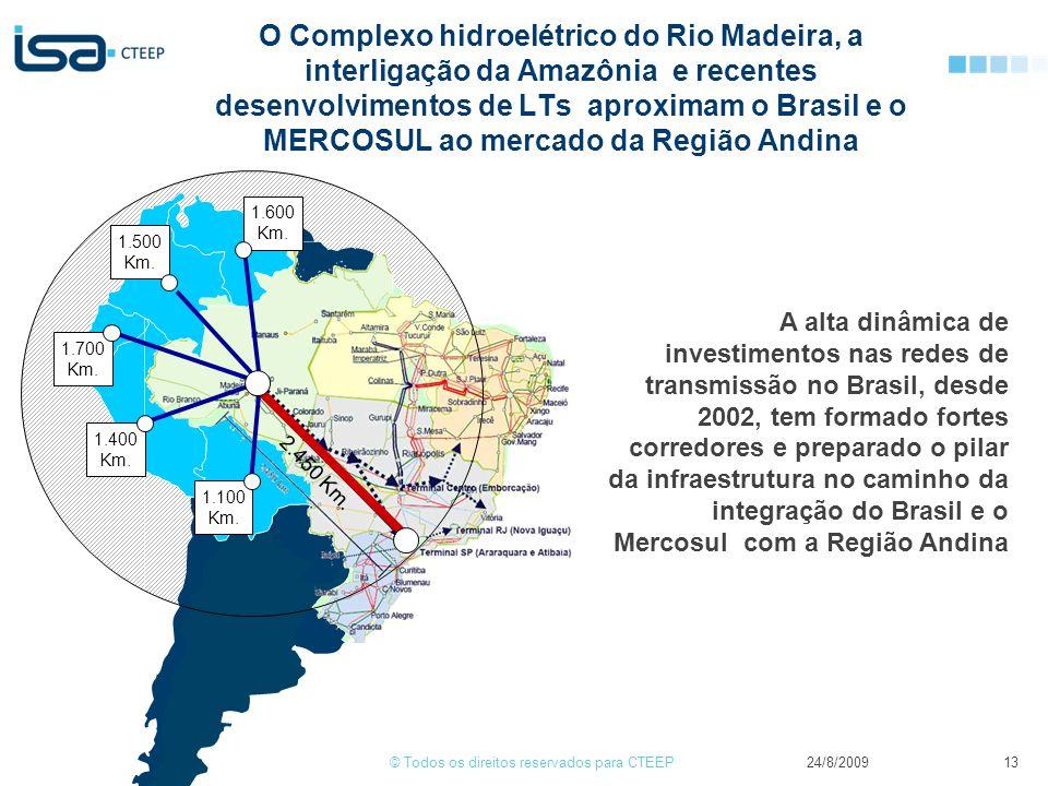 © Todos os direitos reservados para CTEEP24/8/2009 Reflexões sobre a integração dos mercados de energia elétrica em America Latina 13 O Complexo hidroelétrico do Rio Madeira, a interligação da Amazônia e recentes desenvolvimentos de LTs aproximam o Brasil e o MERCOSUL ao mercado da Região Andina 2.450 Km.
