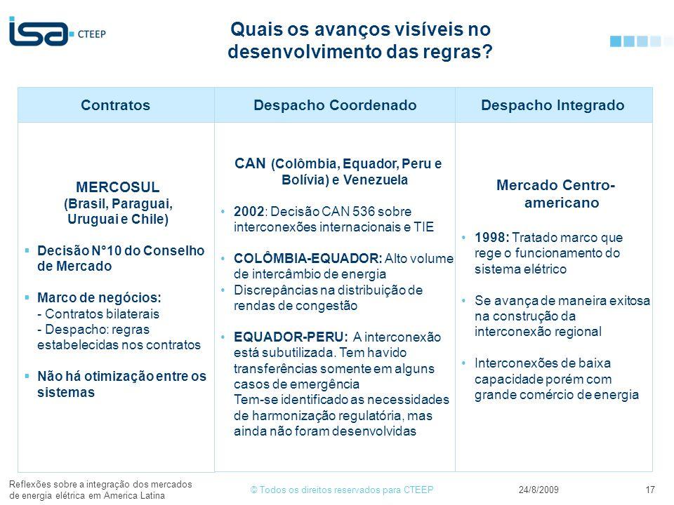 © Todos os direitos reservados para CTEEP24/8/2009 Reflexões sobre a integração dos mercados de energia elétrica em America Latina 17 Quais os avanços visíveis no desenvolvimento das regras.