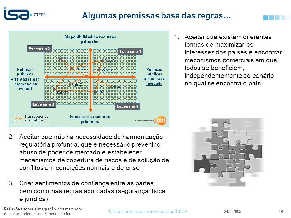 © Todos os direitos reservados para CTEEP24/8/2009 Reflexões sobre a integração dos mercados de energia elétrica em America Latina 19 Algumas premissa