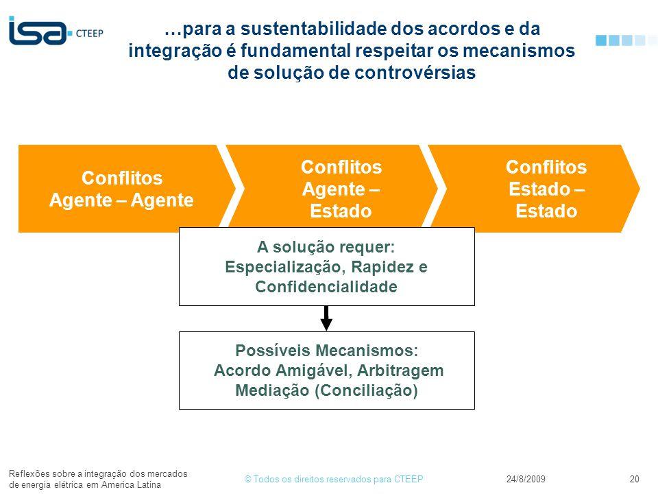 © Todos os direitos reservados para CTEEP24/8/2009 Reflexões sobre a integração dos mercados de energia elétrica em America Latina 20 …para a sustenta