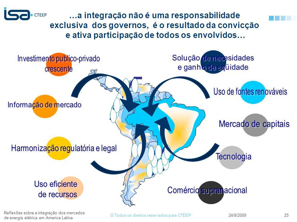 © Todos os direitos reservados para CTEEP24/8/2009 Reflexões sobre a integração dos mercados de energia elétrica em America Latina 25 …a integração não é uma responsabilidade exclusiva dos governos, é o resultado da convicção e ativa participação de todos os envolvidos…