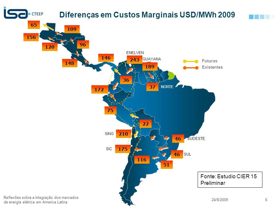 © Todos os direitos reservados para CTEEP24/8/2009 Reflexões sobre a integração dos mercados de energia elétrica em America Latina 6 Diferenças em Cus