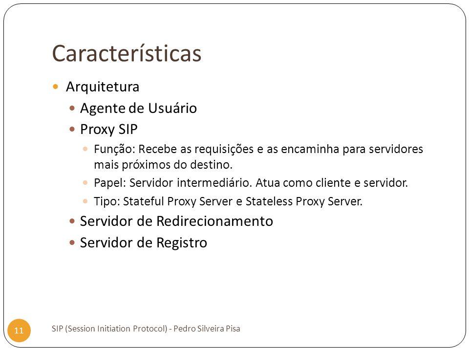 Características SIP (Session Initiation Protocol) - Pedro Silveira Pisa 11 Arquitetura Agente de Usuário Proxy SIP Função: Recebe as requisições e as
