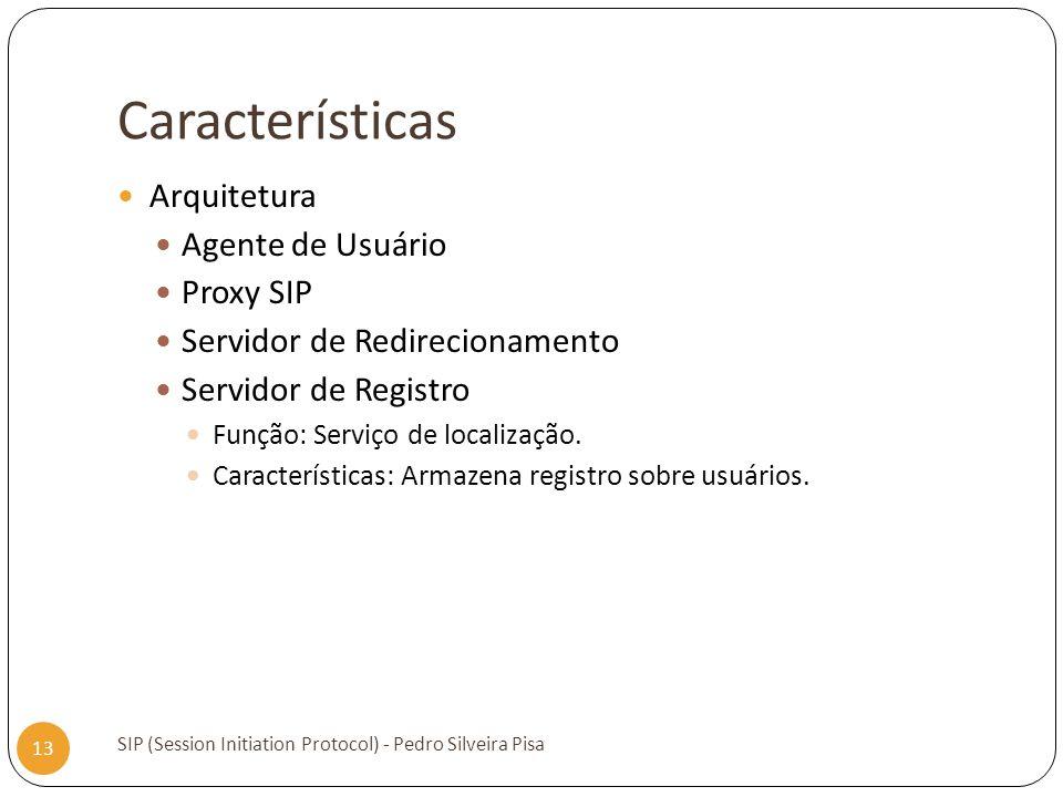 Características SIP (Session Initiation Protocol) - Pedro Silveira Pisa 13 Arquitetura Agente de Usuário Proxy SIP Servidor de Redirecionamento Servid