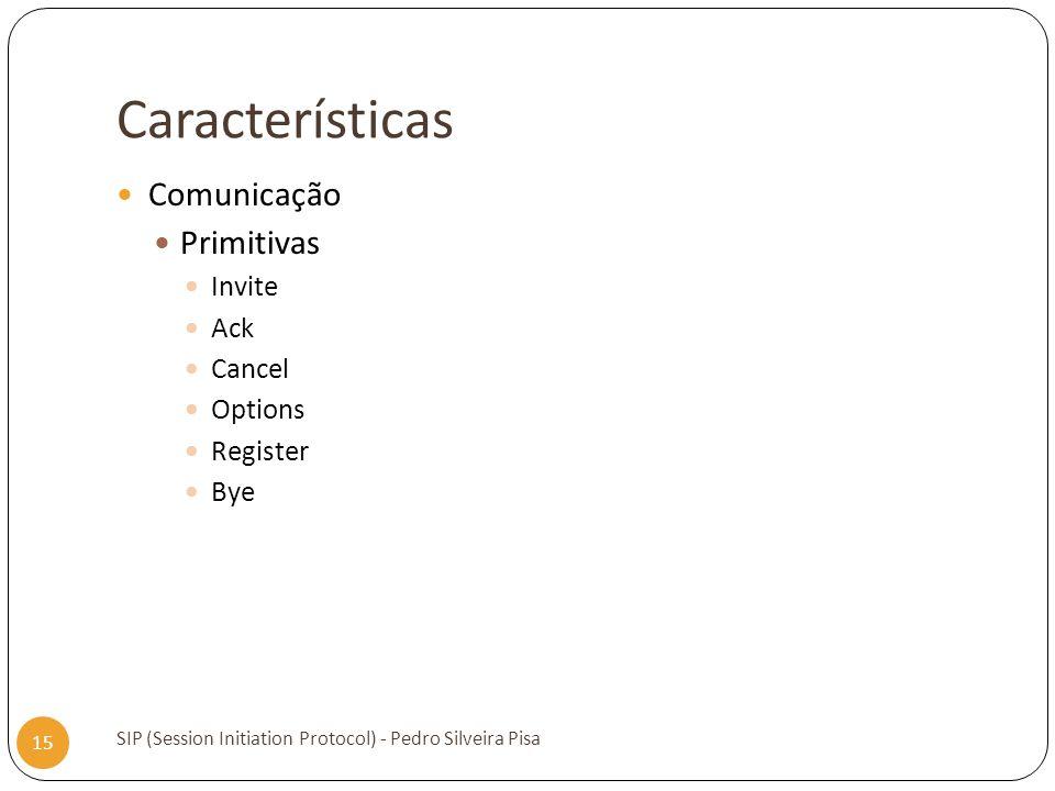 Características SIP (Session Initiation Protocol) - Pedro Silveira Pisa 15 Comunicação Primitivas Invite Ack Cancel Options Register Bye