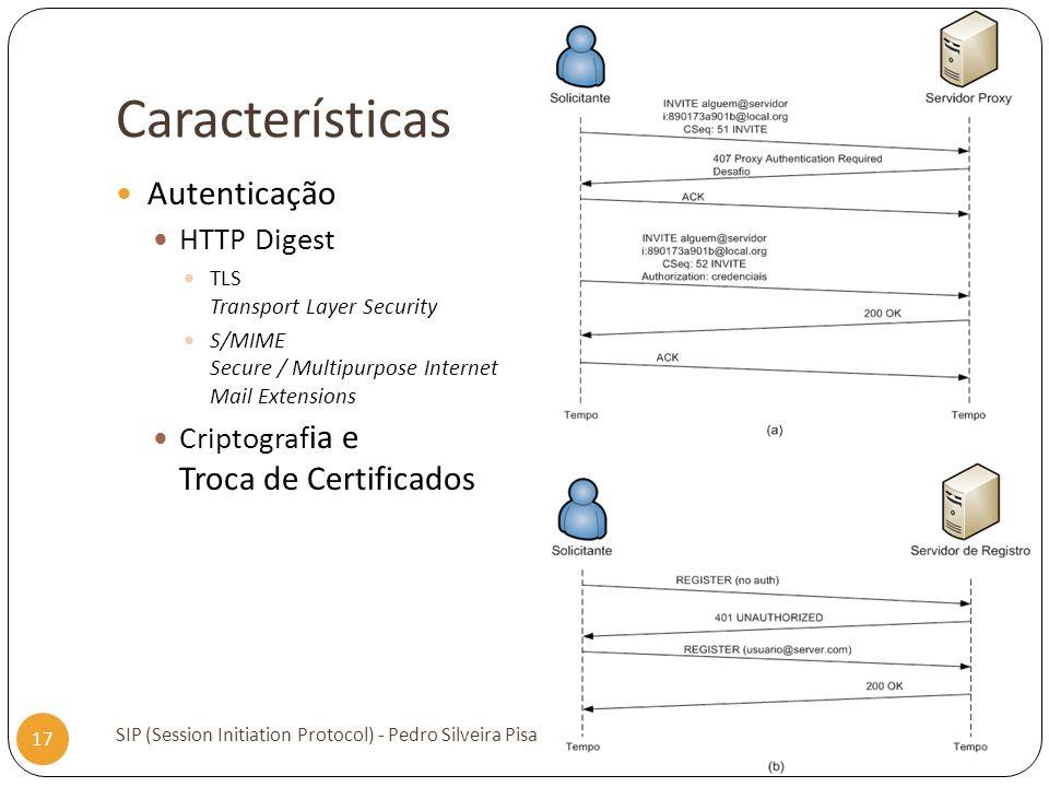 Características SIP (Session Initiation Protocol) - Pedro Silveira Pisa 17 Autenticação HTTP Digest TLS Transport Layer Security S/MIME Secure / Multi