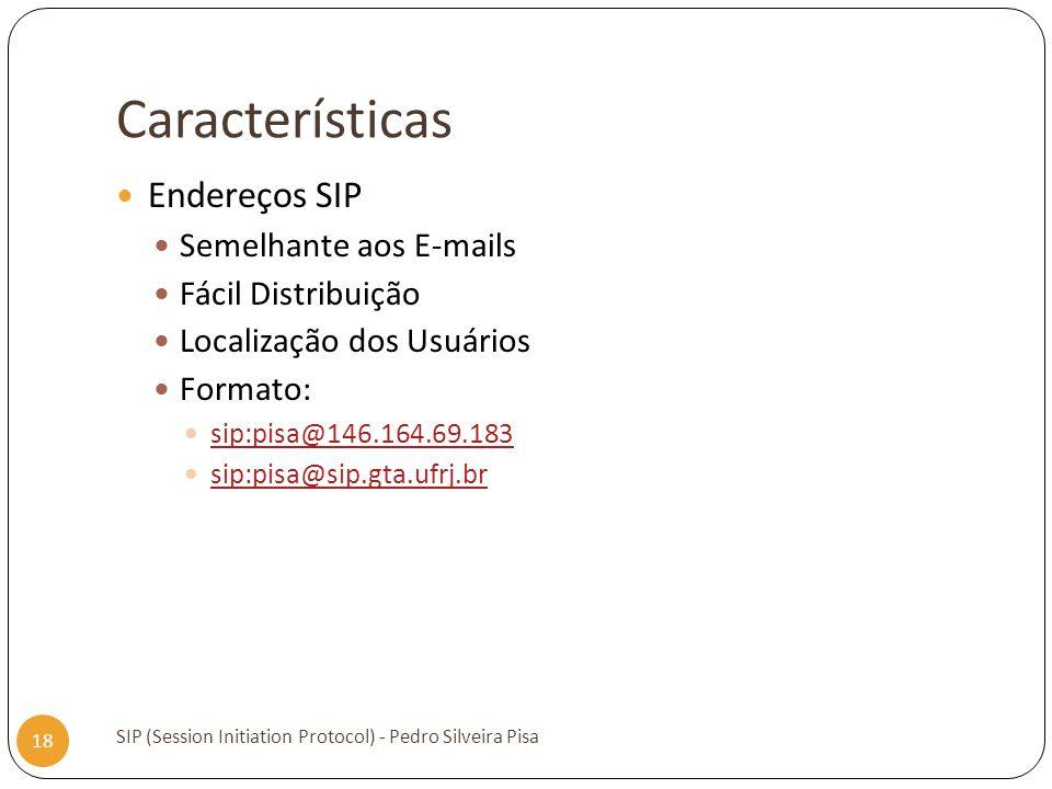 Características SIP (Session Initiation Protocol) - Pedro Silveira Pisa 18 Endereços SIP Semelhante aos E-mails Fácil Distribuição Localização dos Usu