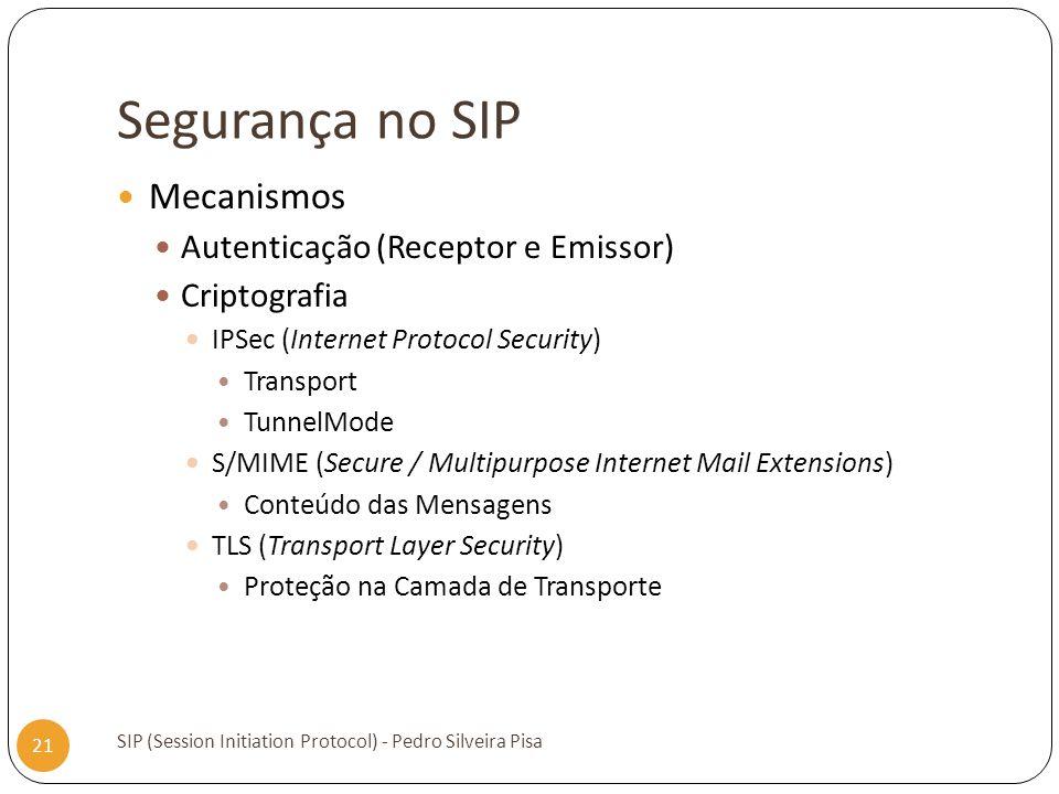Segurança no SIP SIP (Session Initiation Protocol) - Pedro Silveira Pisa 21 Mecanismos Autenticação (Receptor e Emissor) Criptografia IPSec (Internet