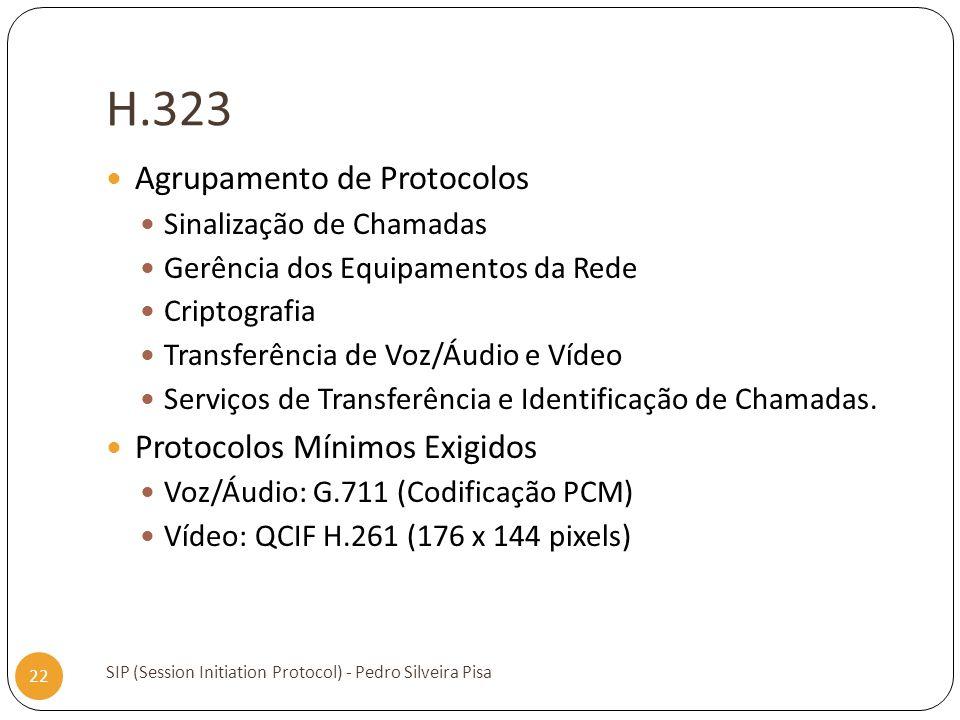 H.323 SIP (Session Initiation Protocol) - Pedro Silveira Pisa 22 Agrupamento de Protocolos Sinalização de Chamadas Gerência dos Equipamentos da Rede C